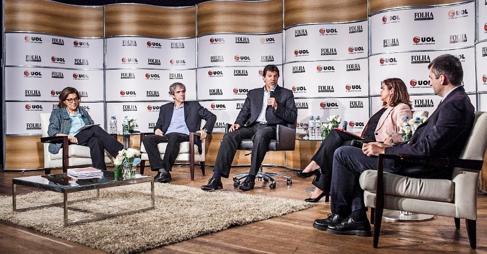 13.set.2012 - O candidato do PT à Prefeitura de São Paulo, Fernando Haddad, participa da sabatina Folha/UOL. Ele disse que o plano de governo de Celso Russomanno (PRB) é