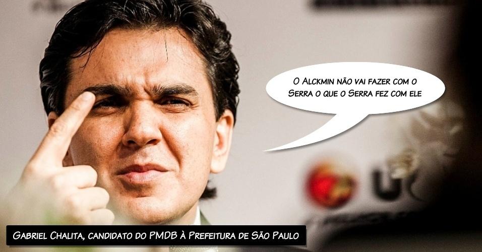 """14.ago.2012 - O candidato do PMDB à Prefeitura de São Paulo, Gabriel Chalita, criticou na sabatina Folha/UOLseu adversário José Serra (PSDB). """"O [governador Geraldo] Alckmin é um homem muito correto. O Alckmin não é dissimulado. Eu nunca o vi com duas caras. O Alckmin vai apoiar o Serra porque é do partido dele. O Alckmin não vai fazer com o Serra o que o Serra fez com ele"""", disse Chalita"""