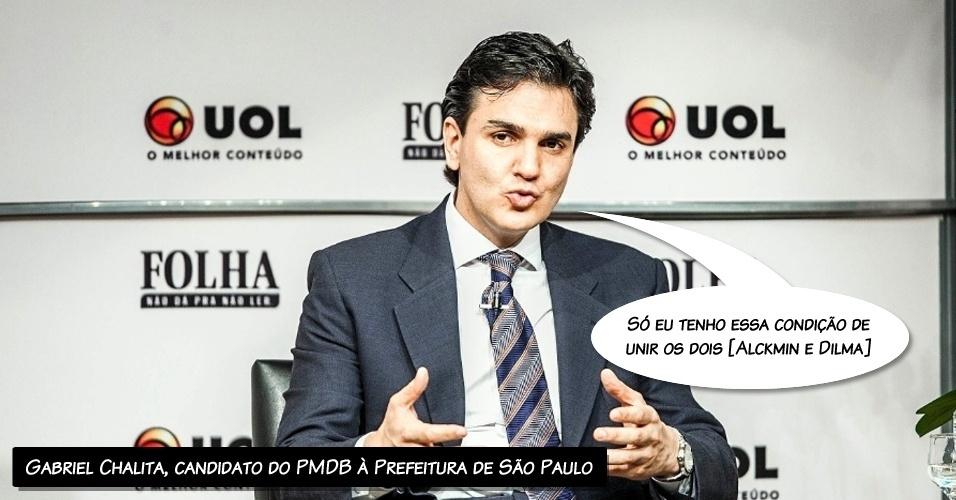 """14.ago.2012 - O candidato do PMDB à Prefeitura de São Paulo, Gabriel Chalita, disse na sabatina Folha/UOL que é amigo da presidente Dima Rousseff. """"Eu tenho uma ótima relação com ela e eu terei condições de trabalhar com os dois, com o [governador Geraldo] Alckmin e com a Dilma. Aliás, só eu tenho essa condição de unir os dois"""", disse Chalita, que é do mesmo partido do vice-presidente, Michel Temer, e amigo e ex-secretário de Alckmin"""