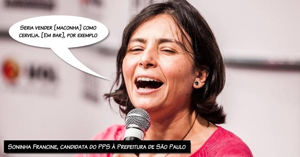 """15.ago.2012 - A candidata do PPS à Prefeitura de São Paulo, Soninha Francine defendeu, a legalização da maconha. """"Seria vender como cerveja. [Em bar], por exemplo. Os bandidos têm o monopólio do comércio [...] Se esse comércio fosse praticado por pessoas decentes, que pagam impostos, eu acredito mesmo que seria um bem para a sociedade"""", disse Soninha na sabatina"""