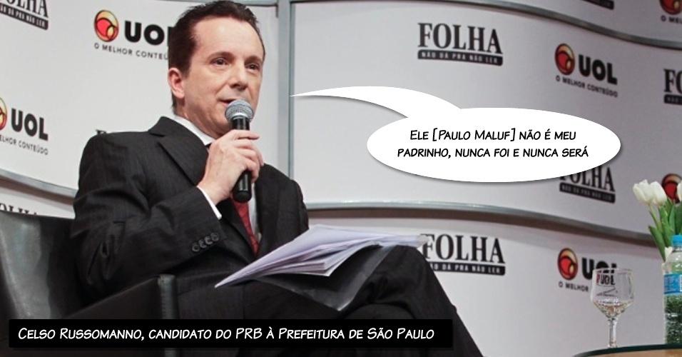 """22.ago.2012 - O candidato à Prefeitura de São Paulo Celso Russomanno (PRB) afirmou, durante a sabatina, que o deputado federal Paulo Maluf (PP-SP) não é seu padrinho político. """"Ele não é meu padrinho, nunca foi e nunca será"""", disse"""