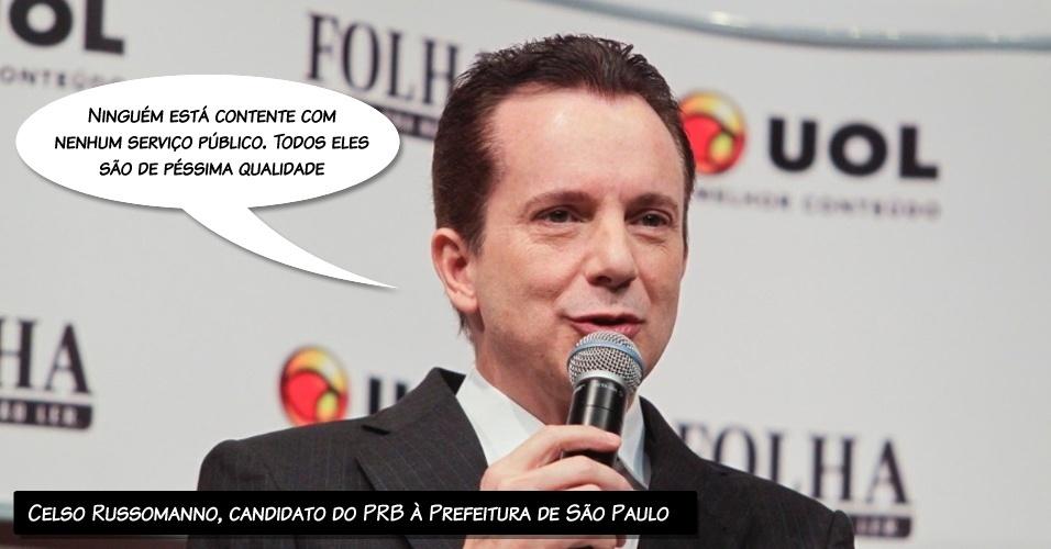 """22.ago.2012 - O candidato à Prefeitura de São Paulo Celso Russomanno (PRB) criticou a gestão do prefeito Gilberto Kassab (PSD) e disse que não é um candidato populista. """"Eu sou o candidato que tem feito propostas de pé no chão. Sem nada mirabolante"""", afirmou"""