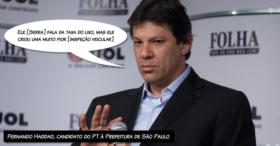 """""""Ele [Serra] fala da taxa do lixo, mas ele criou uma muito pior [inspeção veicular]"""", disse o candidato do PT à Prefeitura de São Paulo sobre a taxa do lixo criada na gestão de Marta Suplicy"""