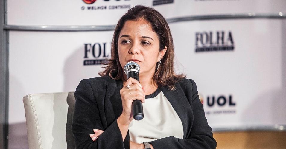 14.set.2012 - A colunista do Painel da Folha, Vera Magalhães, participa da Sabatina Folha/UOL com o candidato do PSDB à Prefeitura de São Paulo, José Serra
