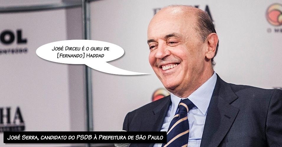 """14.set.2012 - """"José Dirceu é o guru de [Fernando] Haddad"""", afirmou o candidato do PSDB à Prefeitura de São Paulo, José Serra, ao comentar as citações que faz sobre o mensalão em seu programa eleitoral. """"Dirceu dita a linha da campanha dele [Haddad]"""", disse"""