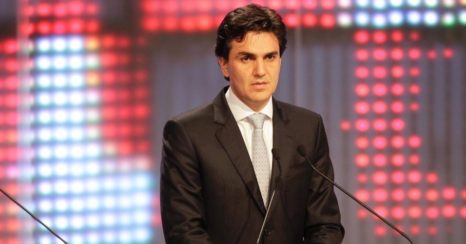 17.set.2012 - Gabriel Chalita, candidato do PMDB à Prefeitura de São Paulo, promete rever a dívida da cidade com a União, a que chamou de 'injusta'