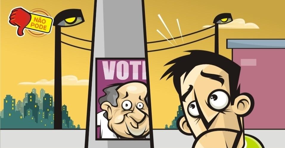 A propaganda em postes de iluminação pública e sinalização de trânsito, o chamado ?lambe-lambe?, é proibida