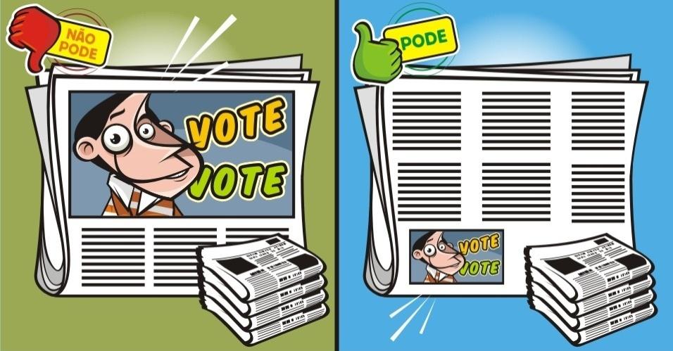 Os anúncios na imprensa escrita são permitidos até o dia 5 de outubro, antevéspera da eleição. Mas só podem ser divulgados no máximo dez anúncios por veículo, em datas diversas, para cada candidato. Esses anúncios não podem ser superiores a 1/8 de página de jornal padrão e 1/4 de página de revista