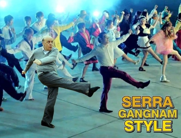 21.set.2012 - Depois que o candidato José Serra (PSDB) foi fotografado perdendo o sapato ao tentar chutar uma bola em um ato de campanha em um circo-escola, internautas passaram a fazer montagens com a imagem do candidato em diferentes situações. Nesta, Serra participa de uma coreografia dançante