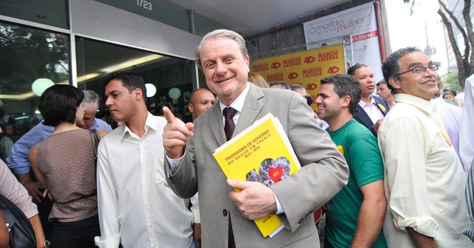 21.set.2012 - O candidato à reeleição em Belo Horizonte pelo PSB, Marcio Lacerda, lançou nesta sexta-feira o seu programa de governo, em evento realizado no centro da capital mineira
