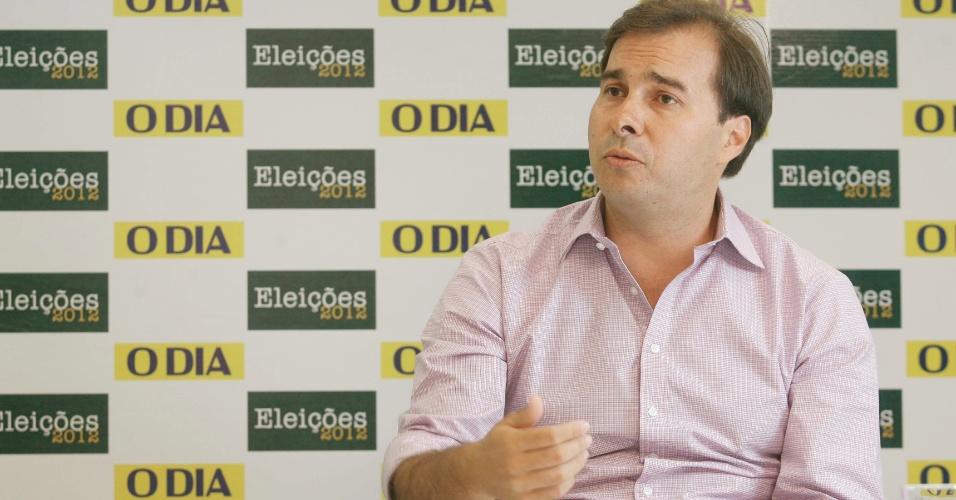 """21.set.2012 - O candidato do DEM à Prefeitura do Rio de Janeiro, Rodrigo Maia, concedeu entrevista ao jornal """"O Dia"""""""