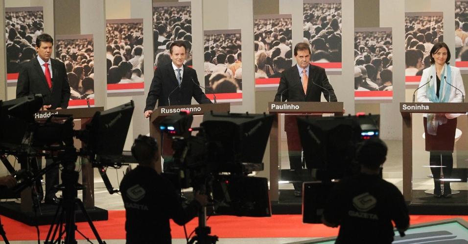 24.set.2012 - Os candidatos à Prefeitura de São Paulo Fernando Haddad (PT), Celso Russomanno (PRB), Paulinho da Força (PDT) e Soninha Francine (PPS) participam de debate na