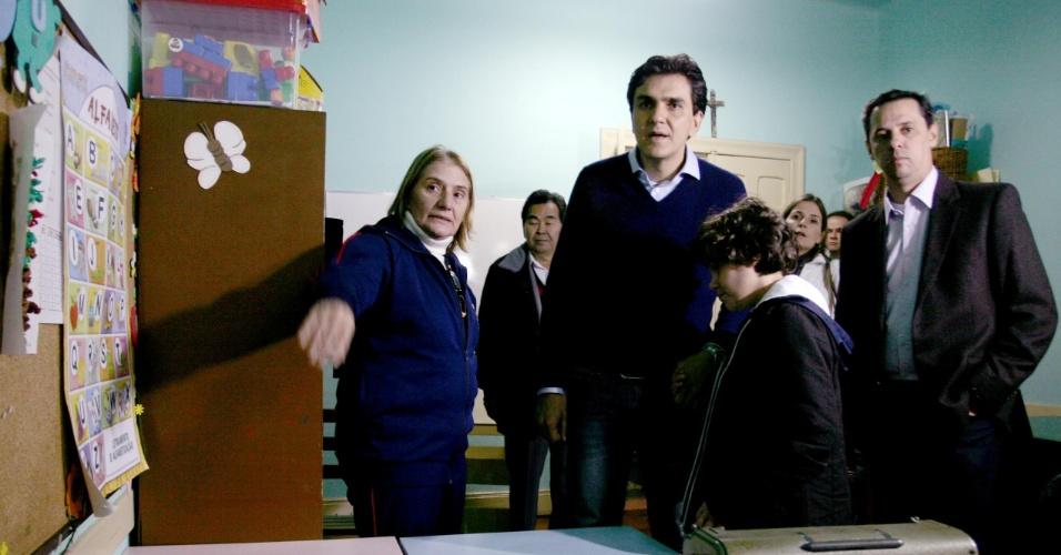 27.set.2012 - O candidato do PMDB à Prefeitura de São Paulo, Gabriel Chalita, visitou o Instituto de Cegos Padre Chico, que atende crianças com deficiência visual, no bairro do Ipiranga, zona sul da capital