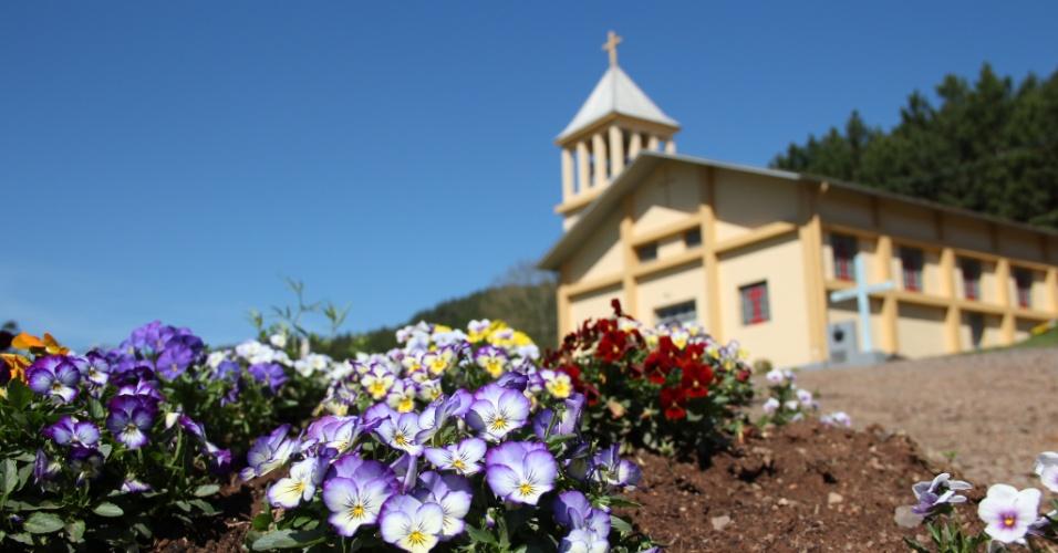 02.out.2012 - Coqueiro Baixo é uma cidade muito cuidada e é comum encontrar jardins floridos nas praças e diante das casas