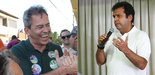 O candidato do PMDB, Hermano Morais (à esq.), disputa o segundo turno contra Carlos Eduardo (PDT) em natal