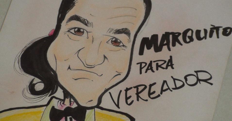 7.out.2012 - Charge decora parede no comitê de Marquito, candidato a vereador em São Paulo pelo PTB