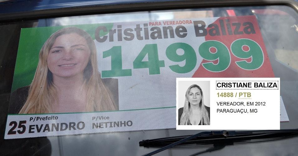 9.out.2012 - Material de campanha da candidata a vereadora de Paraguaçu (362 km de Belo Horizonte) Cristiane Baliza (PTB) foi confeccionado com o número errado (14.999). No detalhe, o número de registro no TSE (Tribunal Superior Eleitoral), o 14.888. Por causa do erro, ela recebeu apenas 12 votos
