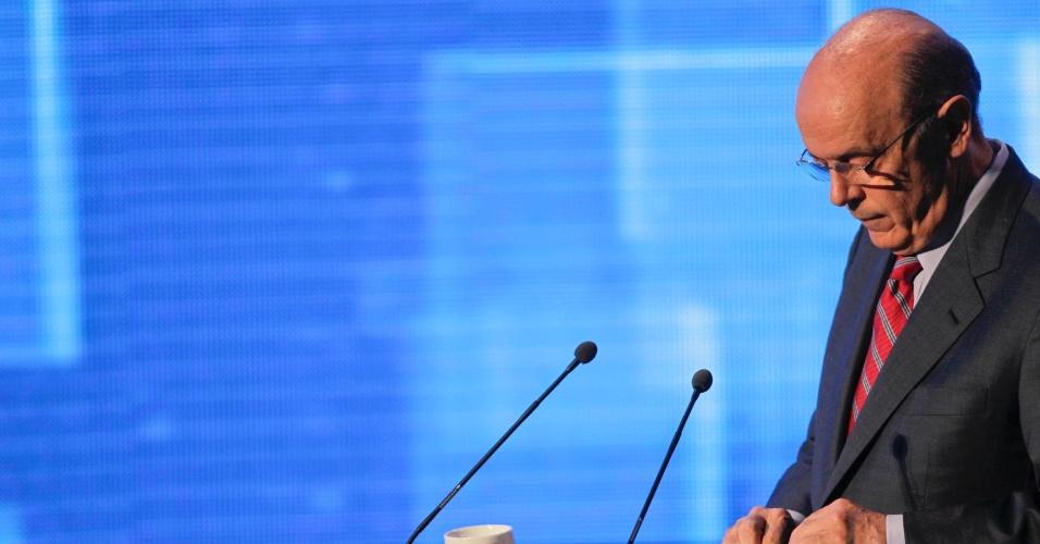 18.out.2012 - O candidato do PSDB à Prefeitura de São Paulo, José Serra (na foto), tentou demonstrar que o candidato petista Fernando Haddad não está preparado para o cargo que pleiteia