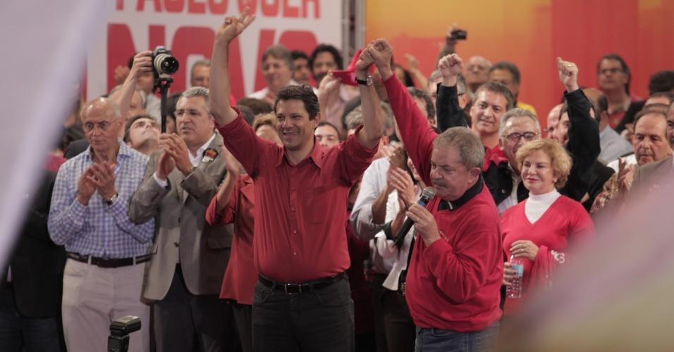 20.ou.2012 - Em comício do candidato do PT à Prefeitura de São Paulo, Fernando Haddad, a presidente Dilma Rousseff disse que o candidato do PSDB, José Serra, faz com o petista a mesma campanha de baixo nível que fez com ela em 2010