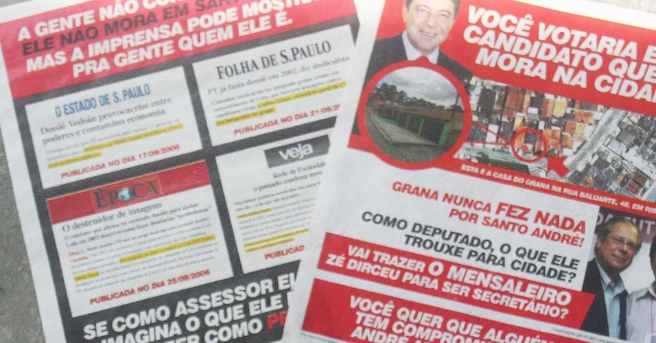 21.out.2012 - Panfletos contra o candidato do PT à Prefeitura de Santo André (SP), Carlos Grana, são vistos espalhados pelas ruas da cidade