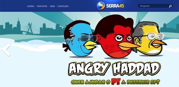 """Reprodução de site da campanha de José Serra que mostra chamada para jogo """"Angry Haddad"""""""