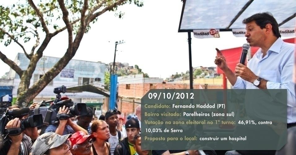 9.out.2012 - O candidato do PT à Prefeitura de São Paulo, Fernando Haddad, visitou Parelheiros (zona sul) para agradecer a votação expressiva na região. A proposta do petista para a região é construir o hospital, prometido e não realizado pelo atual prefeito Gilberto Kassab (PSD), e oferecer 500 novos leitos na região sul