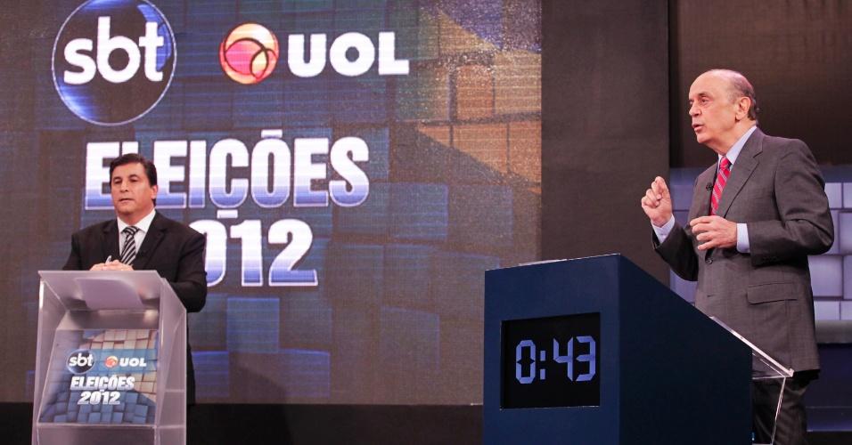 """24.out.2012 - Ao fim de debate SBT UOL, o candidato do PSDB à Prefeitura de São Paulo, José Serra, disse que não """"vai governar para patotas"""""""