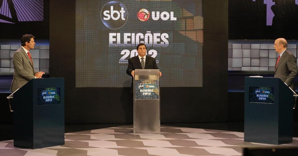 Os candidatos à Prefeitura de São Paulo, Fernando Haddad (PT) (à esq.) e José Serra (PSDB) participam de do debate SBT UOL na capital paulista.Internautas do UOL escolheram os temas do debate