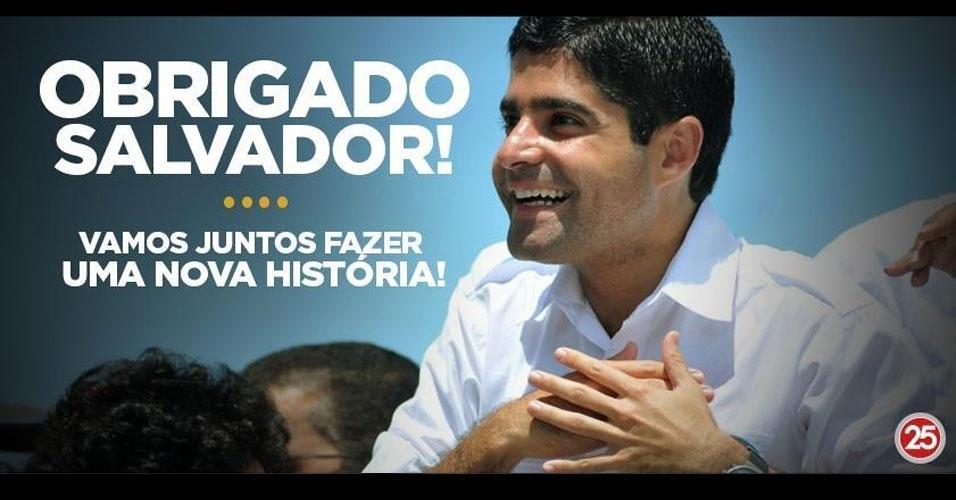 28.out.2012 - Equipe de ACM Neto (DEM) posta imagem de agradecimento na página do Facebook da campanha. ACM superou Nelson Pelegrino (PT) e foi eleito prefeito de Salvador
