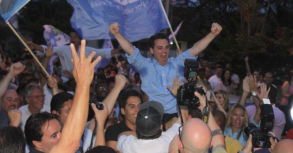 28.out.2012 - O prefeito eleito de Florianópolis (SC), Cesar Souza Júnior (PSD), comemora vitória neste domingo (28). Com 52,6% dos votos, Júnior derrotou Gean Loureiro (PMDB), que obteve 47,3%
