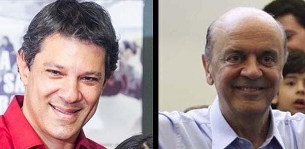 Fernando Haddad (esq.) e José Serra (dir.), candidatos em São Paulo, se dizem otimistas com o resultado